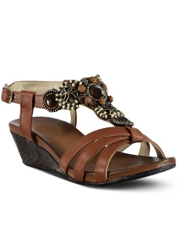 Marjin Dolgu Topuklu Sandalet Taba